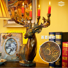 Retro high-grade, natural resin, deer head, Candlestick, creative, wedding, bridal chamber, candleholder, candelabrum, candler~