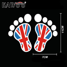 KAWOO 1Pair Funny The British Flag Footprints Feet Reflective Vinyl Car Styling Waterproof Truck Decor Car Body Car Styling