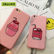 JiBan fashion cute milk box case for iphone 5s 6 6S plus case cell cartoon fruit peach drinks cover for iphone 7 7plus cases(China)