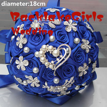 New Arrival Best Quality Royal Color Holding Wedding Bouquet Half Ball Holding Flowers Diamond Brooch Pearl Bridal Bouquets