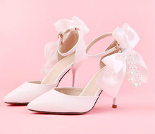 The new white pearl pointed high with wedding shoes Satin bowknot wristband bridal shoes female sandals