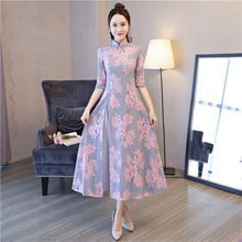 Elegant Women Traditional Chinese Slim Dress Vintage Vietnam Aodai Lace  Sexy Qipao Lady Flower Ankle-length Cheongsam a761582c961f
