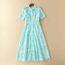 Sky Blue Dress Summer Cute Hollow Short Sleeve Beautiful Casual High Street Classic Topshop Slim Mid-Calf Pretty New Women Dress