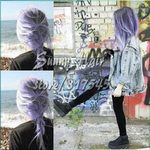 Sexy Bright Coloured Hair/Plait Braid Pastel Purple Blue Lilac Hair Long Bob Synthetic Lace Front Wig Heat Resistant Ombre Bobs