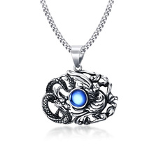 Heyrock Vintage Stainless Steel Dragon & Phoenix Pendant Necklace Chinese Ethnic Men/Boys Jewelry