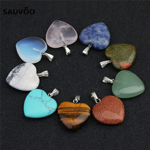 Buy Sauvoo 5pcs Purple Pink Crystal Natural Stone Heart Necklace Charms Pendants Bead 20mm DIY Handmade Jewelry Making Findings for $4.24 in AliExpress store