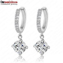 LZESHINE Super Deal!!! 80% Off Pandent Earring Silver Color AAA Zircon Heart and Arrows Fashion Micro Inlay Earring CER0004-B(China)
