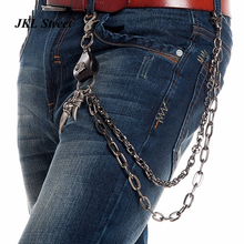 Free King Men Long Key Chain Eagle Head inlay PU Joint Gun Metal Link Wallet Chain Falcon Talons Pendant Punk Jeans Chain J65