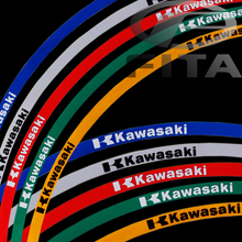 "New 17""  Fluorescent Motorcycle Motorbike Wheel Rim Stripe Tape Sticker for Kawasaki 5 Colors"