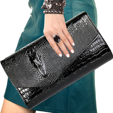 Europe style famous brand designer Women bag crocodile pattern clutch fashion handbags bright pu leather shoulder Messenger bags