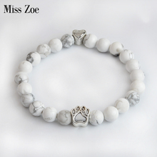 Miss Zoe Paw Heart Natural Stone Beads Chakra Bracelets Handmade Wristband Bangle bijoux Animal Pet Jewelry Gift for Dog Owners