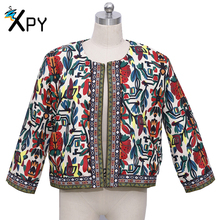 2017 Fashion Women Jacket Spring And Summer new  retro High quality print round neck jacket women embroidery slim outwear jacket