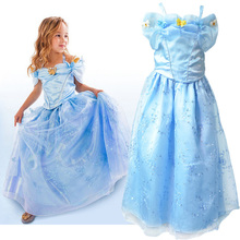 2017 Newest Fashion summer Cinderella princess girl's dress baby Cosplay Costume brand baby cotton Dress children party dress