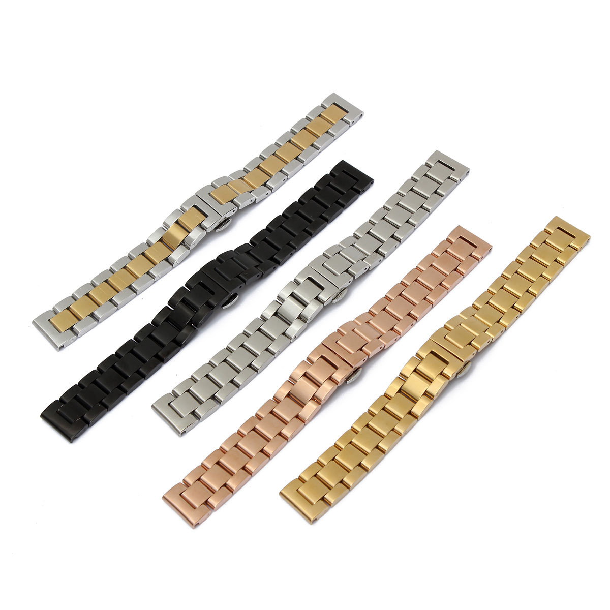 18mm Watchband Mens Women High Quality Stainless Steel Strap Silver Gold  Black Rosegold Watch Bracelet Strap