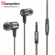 Langsdom M410 Aluminum Alloy Earphone Flat Cable Tangle-Free Headsets Stereo earphones with Microphone for Phone fone de ouvido(China)