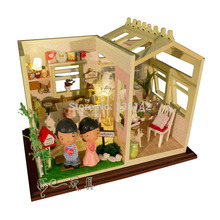 PH001 DIY wooden Doll house Garden Kitchen dollhouse miniature ( send dolls , dust cover, voice-activated lights )