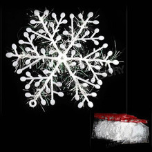 by dhl or ems 18000pcs White Plastic Christmas Snowflake Sheet 10cm Ornament Xmas Tree House Decoration With Shining leonid