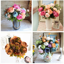 18 Colors 13 Heads European Artificial Flowers Peony Silk Wedding Bride Bouquet For Wedding Home Hotel Decoration Garden Crafts(China)