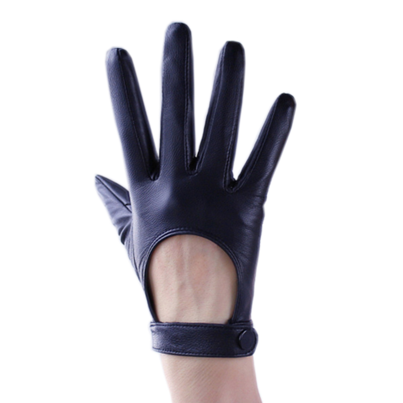 Touch Screen Genuine Leather Gloves Pure Sheepskin Locomotive Back Gloves Black Short Silk Lining TB04