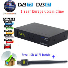 Freesat V7 DVB Combo DVB-S2 DVB-T2 Satellite Receptor Terrestrial Decoder and USB WIFI device with 1 Year Europe CCcam 3 Cline