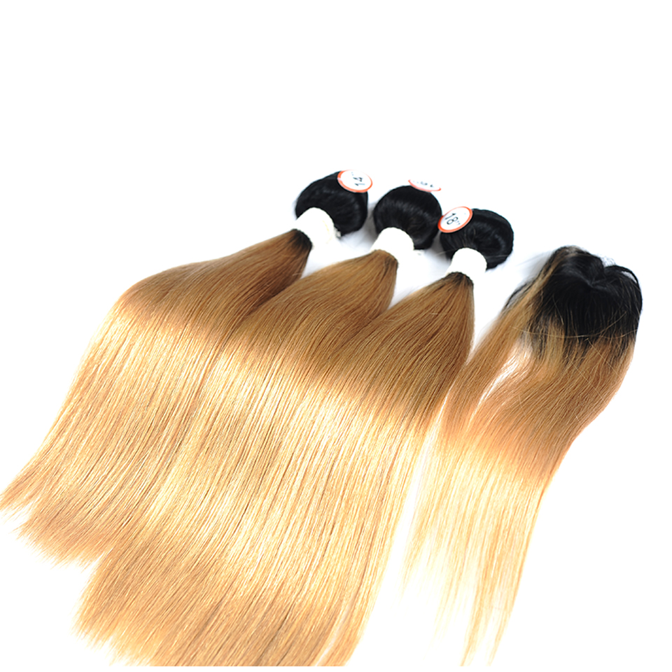 Pinshair Pre-Colored Honey Blonde 1B 27 Brazilian Straight Hair Bundles With Closure Ombre Dark Roots Human Hair Nonremy No Shed (16)