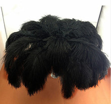 Sell high quality 50pcs / lot  black ostrich feather 30-35cm, DIY jewelry accessories / Custom Colors