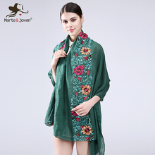 [Marte&Joven] Ethnic Style Flower Embroidered Scarves and Shawls for Women Retro Design Chinese Style Soft Pashmina for Ladies