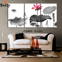 3Panels Combined Lotus Flower In The Water prints Canvas Painting Modern home decoration Artistic Modular wall Picture Unframed(China)