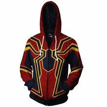 Avengers 3 Superhero Hoodie Spiderman Venom Iron Man Captain America Thin Hoodies Iron Spider-man Casual Zipper Coat Outfit