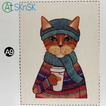 1pcs/lot Popular dyeing cloth sew on bag painting DIY home decoration for wall 16*20cm handsome cats printed fabric linen cloth