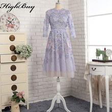 HighBuy Romantic Lavender A Line Wedding Dresses 3/4 Sleeves Lace Appliques Bridal Wedding Gowns Custom Made Party for Brides