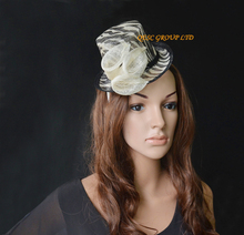 White black  Zebra print  Sinamay Mini Top Hat Fascinator.