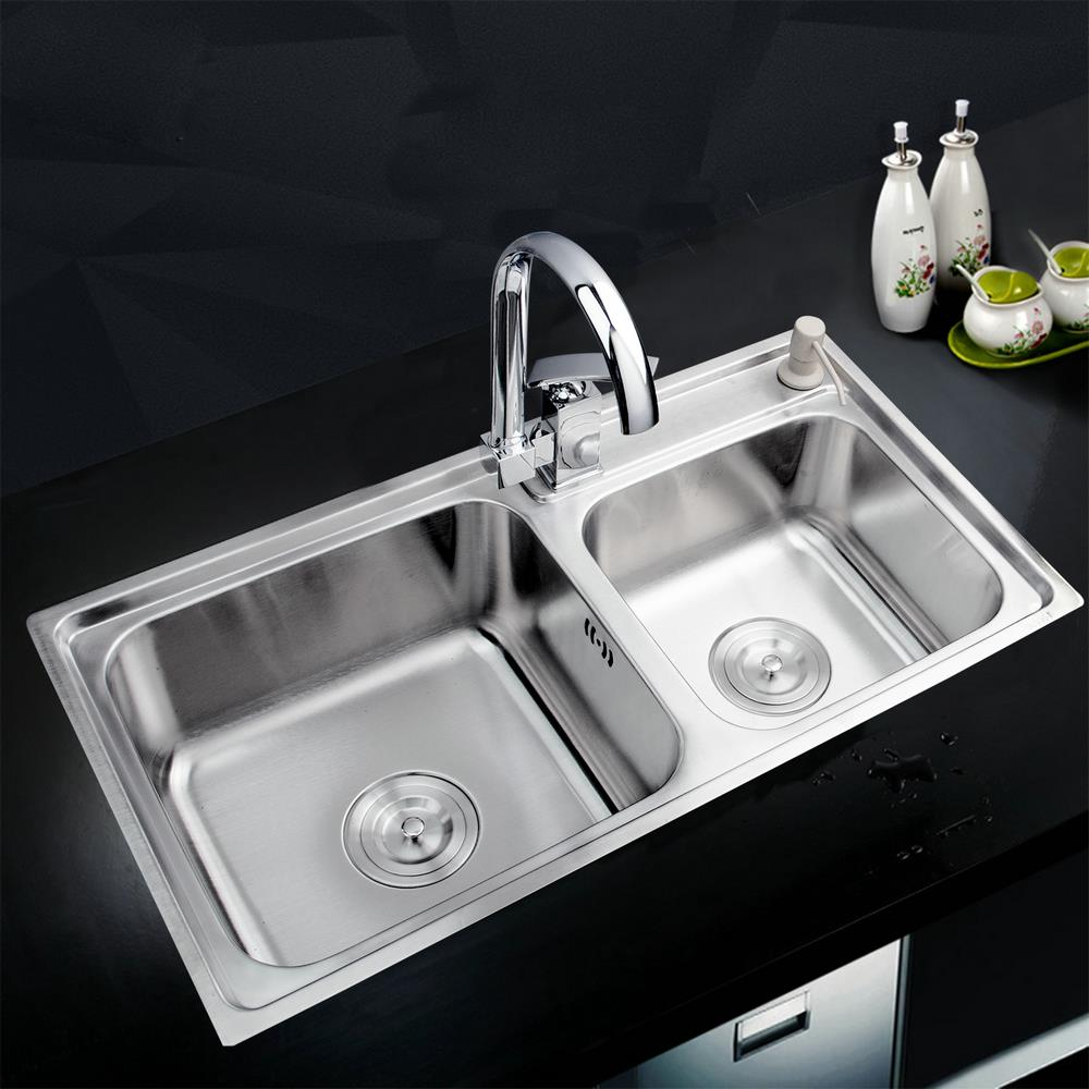 Shivers Kitchen Stainless Steel Sink Vessel Kitchen Double Bowl SS-997147/114 + Swivel Vanity Faucet + Liquid Soap Dispenser(China (Mainland))