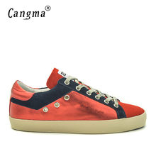 CANGMA Mens Retro Shoes Flats Cow Suede Shoes Genuine Leather Red Shoes For  Men Brand Footwear Men Sneakers Trainers Plus Size cd9a78acb637
