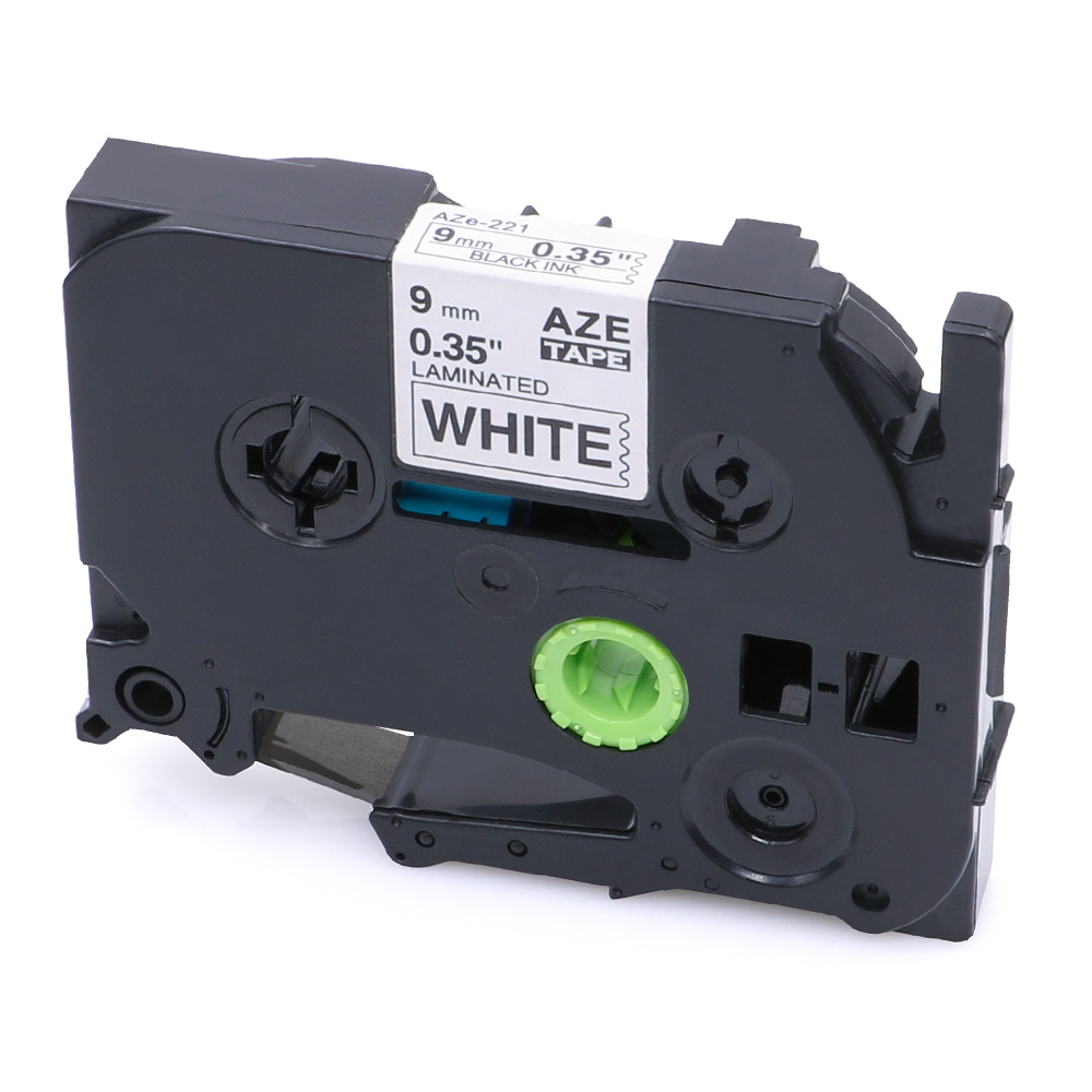 """5PK For Brother TZ-221 P-Touch PT-D400 Laminated Black on white Label Tape 0.35/"""""""