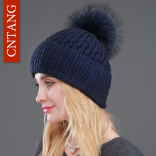 Winter Pompom Women Beanies Real Big Raccoon Fur Hat Fashion Knitted Wool Warm Cotton Caps Female Casual Natural Fur Hats Solid