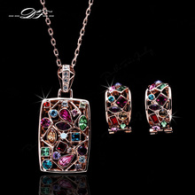 DFS022 Luxury Multicolor Rose Gold Color Crystal Necklaces & Pendants Earrings Set African Brand Wedding Jewelry For brides(China)