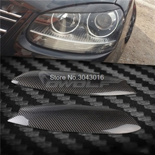 High Quality Real Carbon Fiber decoration Headlights Eyebrows Eyelids cover for Volkswagen VW golf 5 MK5 2005 2006 2007(China)