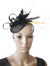 NEW 19 colours Black sinamay feather fascinator  hair accessory for Kentucky derby and wedding .FREE SHIPPING