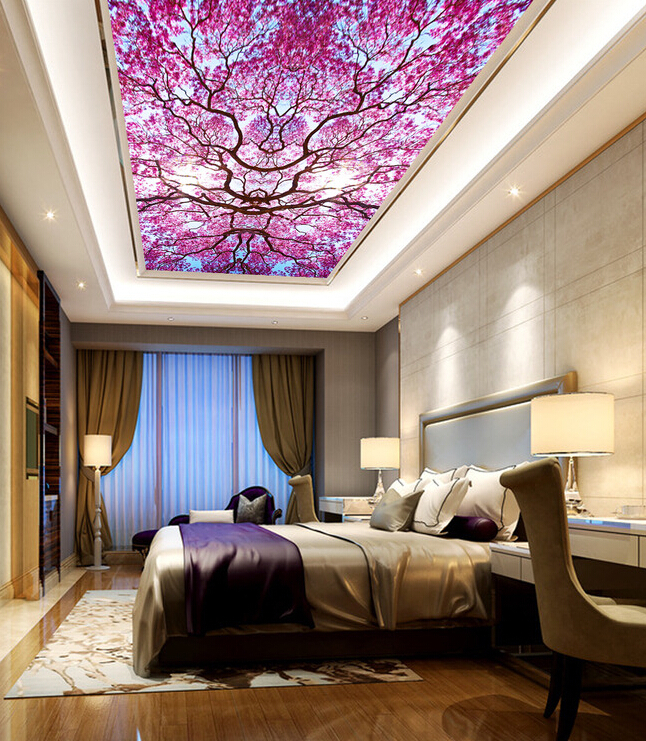 Latest custom 3D large mural,under the sky of beautiful flowers ceiling murals ,living room tv background bedroom wall wallpaper<br>