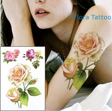 FT04 Yellow white Rose Temporary Body Tattoo Red and pink RosesTattoos can be used for Shoulder,thigh, or Back Body docor