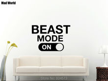 Mad World-Beast Mode Fitness Gym Motivational Wall Art Stickers Wall Decal Home DIY Decoration Removable Decor Wall Stickers