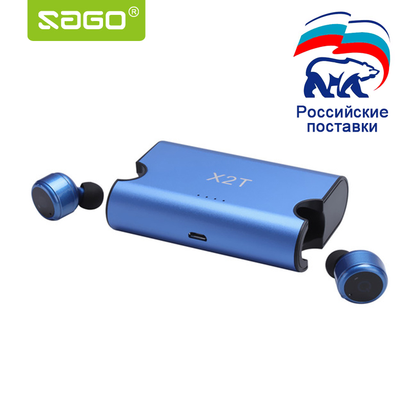 Sago Wholesale price  X2T earbuds mini true wireless earphone Bluetooth CSR4.2 headphone with power bank for iphone 8 android <br>