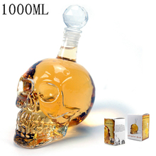 Crystal Skull Head Glass Vodka Wine Bottle Creative Whiskey Decanter Bottles Wine Beer Halloween Cup Glass Bottle with Tap Bar(China)
