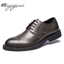 MIYAGINA High Quality New men Flats 100% Genuine Leather men Shoes Brand Oxfords Spring men Business Shoes(China)