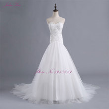 Julia Kui Robe De Mariage Sweetheart Neckline Transparent Yarn A Line Wedding Dress Count Train Bridal Dress(China)