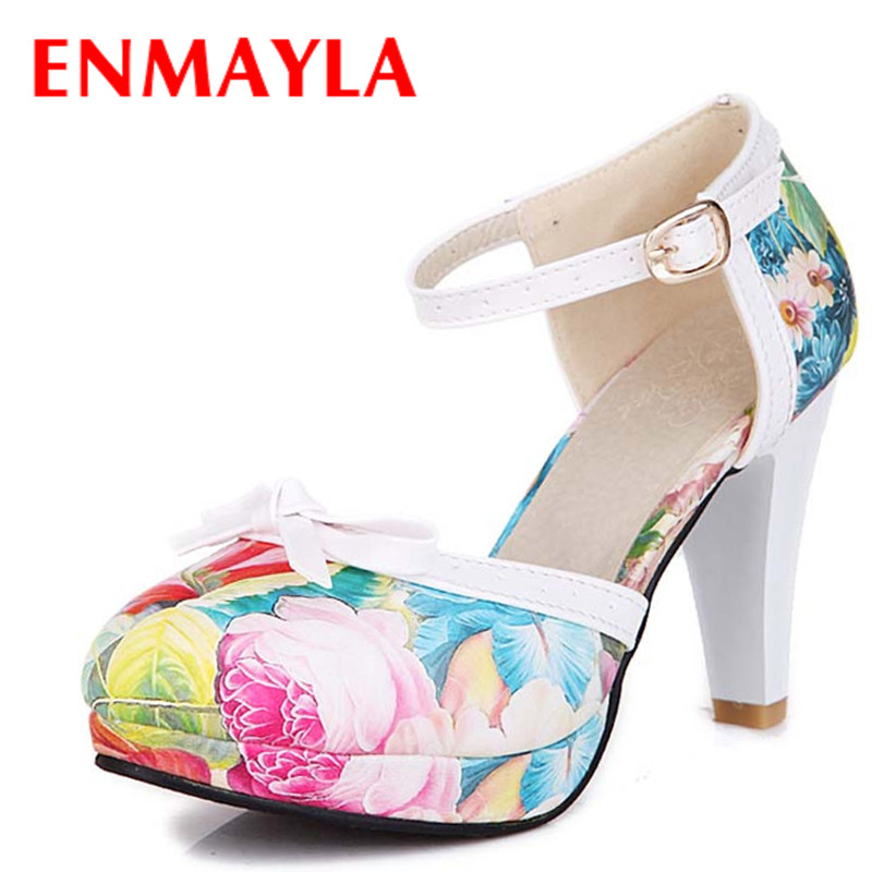 ENMAYLA Spring Autumn Strappy High Heels Pumps Women Platform Print Flower Ladies Sandals Round Toe Wedding Shoes Red Blue<br><br>Aliexpress