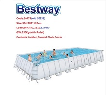 "NO Stock!56479 Bestway 9.56x4.88x1.32m/31.3'x16'x52"" Power Steel Rectangular Frame Pool Set/Above Ground Swimming Pool"