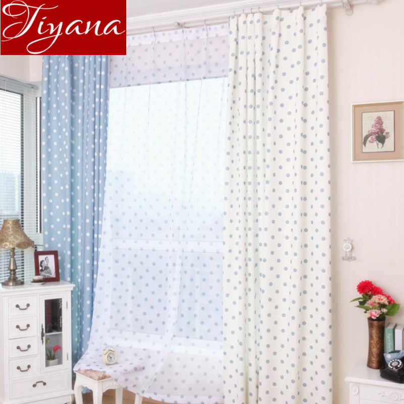 Small Dot Curtains Window Screen Voile Printed Yarn Panel Kids Room Bedroom Modern Living Room Curtains Cloth Tulle T&122 #20