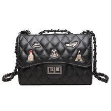 Fashion quilted PU Leather Women Bag Badge Chain Women Messenger star style Cross-body bags Brand Lady Shoulder bag WLHB1547(China)